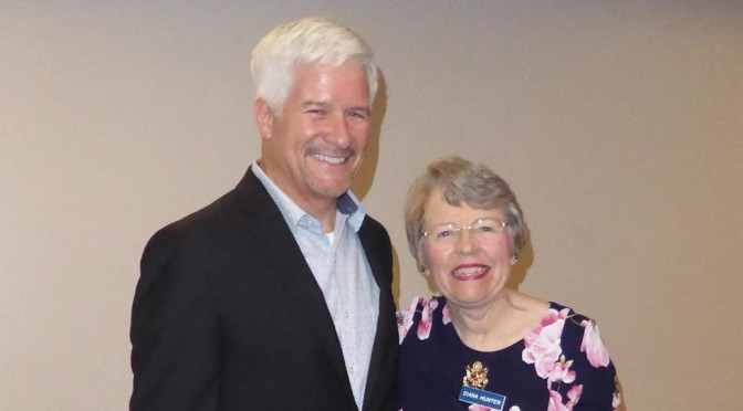Gary Varvel, master cartoonist, with Diana Hunter, President of the Capitol Chapter of Eagle Forum
